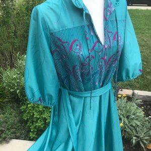1970's vintage polyester swing dress 18 1/2